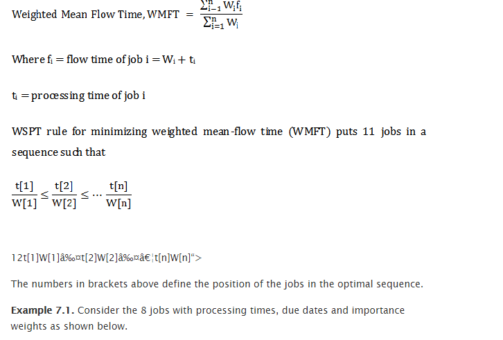 Rule of shortest processing time spt 1