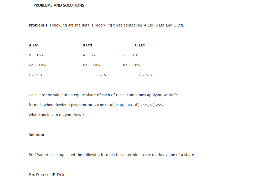 Test Questions Dividend 1