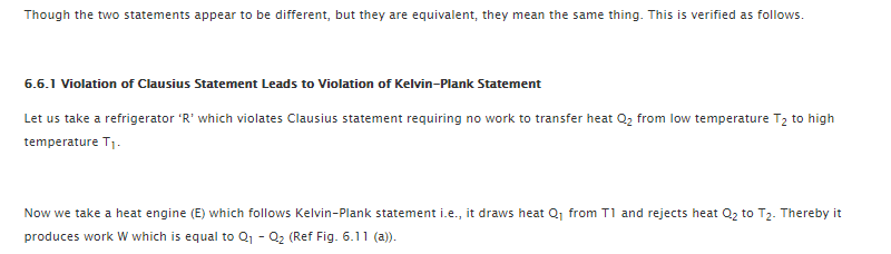 Equivalence of Kelvin-Plank and Clausius Statements 1