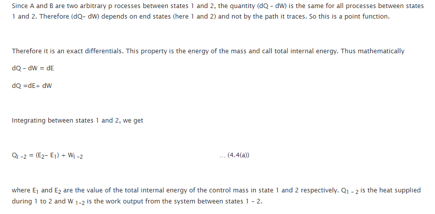First Law of Thermodynamics for a Change of State for a Control Mass Closed System 6