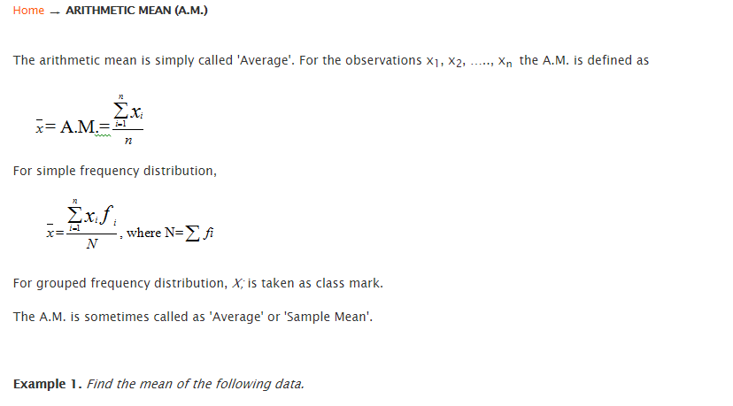 Know about Arithmetic Mean 1