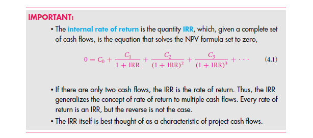 The Internal Rate of Return (IRR) 12