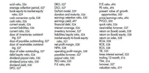 Other Financial Ratios 73