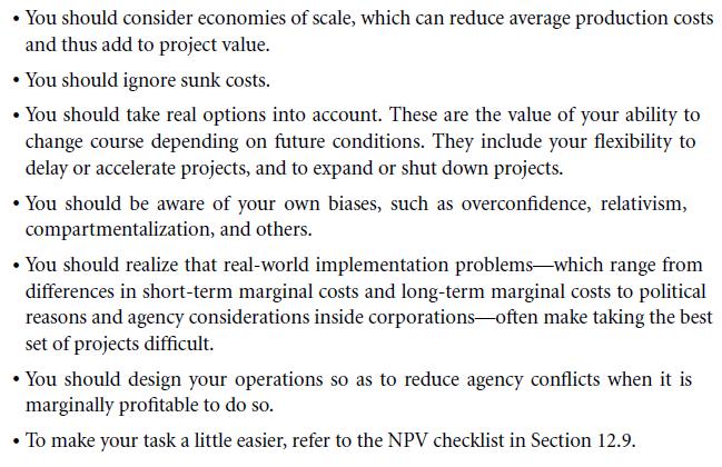 An NPV Checklist 12