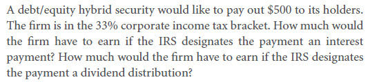 Relative Taxation of Debt and Equity 8