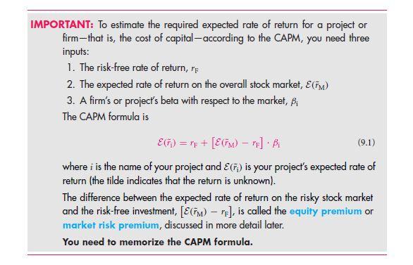 The Capital Asset Pricing Model (CAPM) — A Cookbook Recipe Approach 2