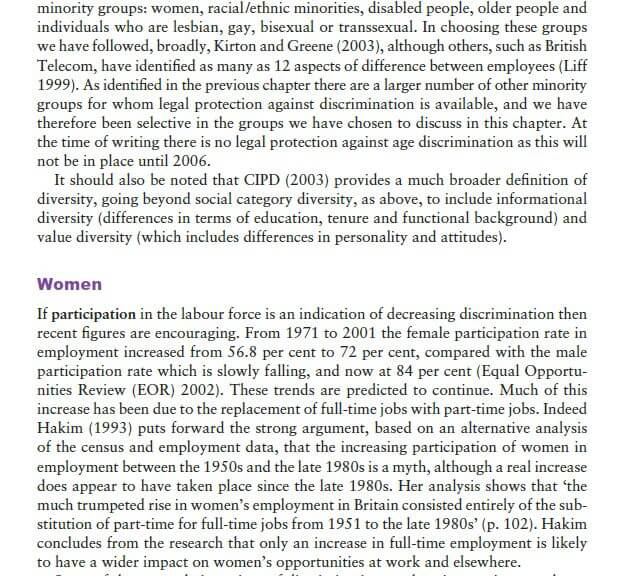 Current Employment Experiences of Socially Defined Minority Groups 1