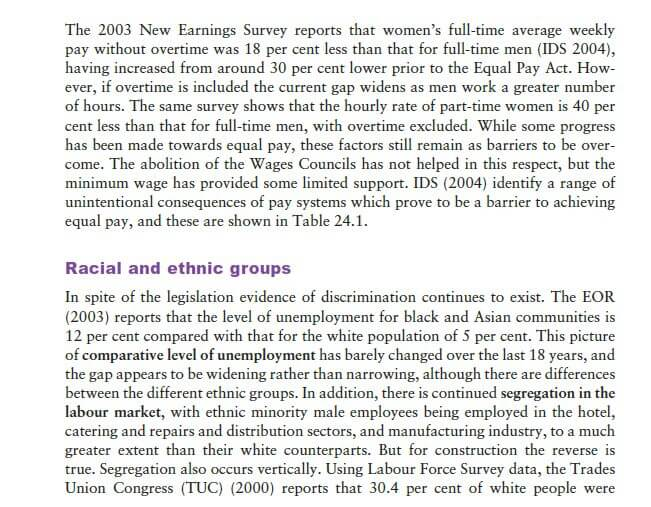 Current Employment Experiences of Socially Defined Minority Groups 5