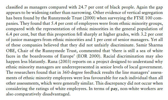 Current Employment Experiences of Socially Defined Minority Groups 6